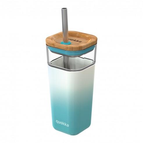 Vaso de cristal reutilizable quokka venta en guttus con pajita de acero inoxidable y tapa de bambú